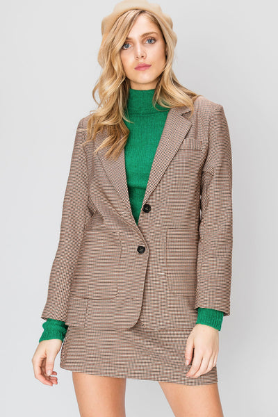 Cleo Houndstooth Jacket with Skirt Set-2 Colors