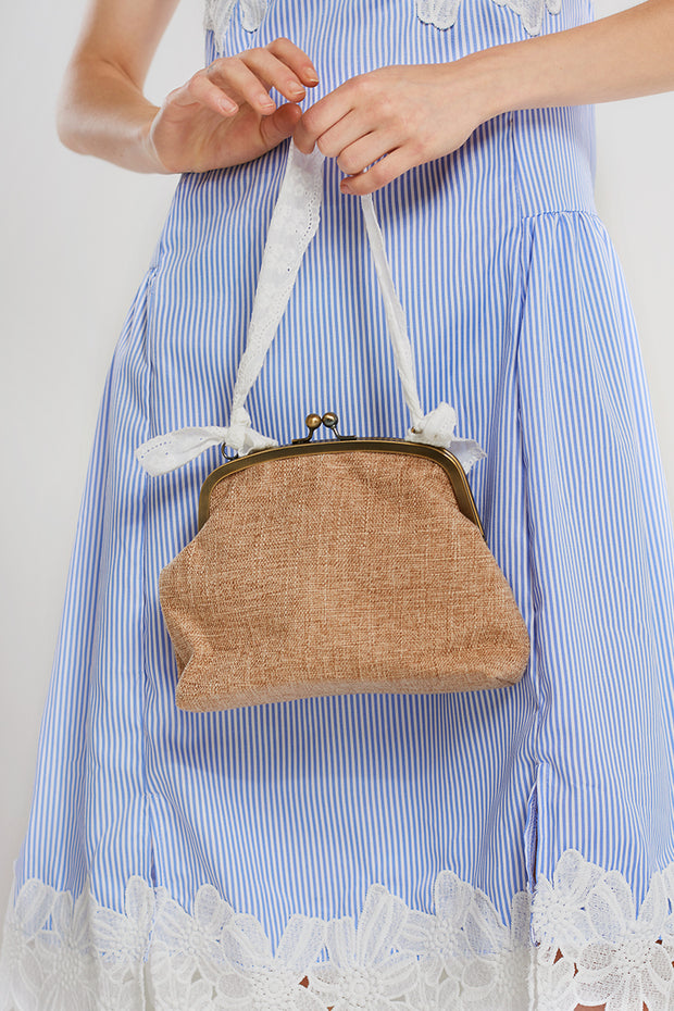 Coin Ratan Cross Bag-Beige