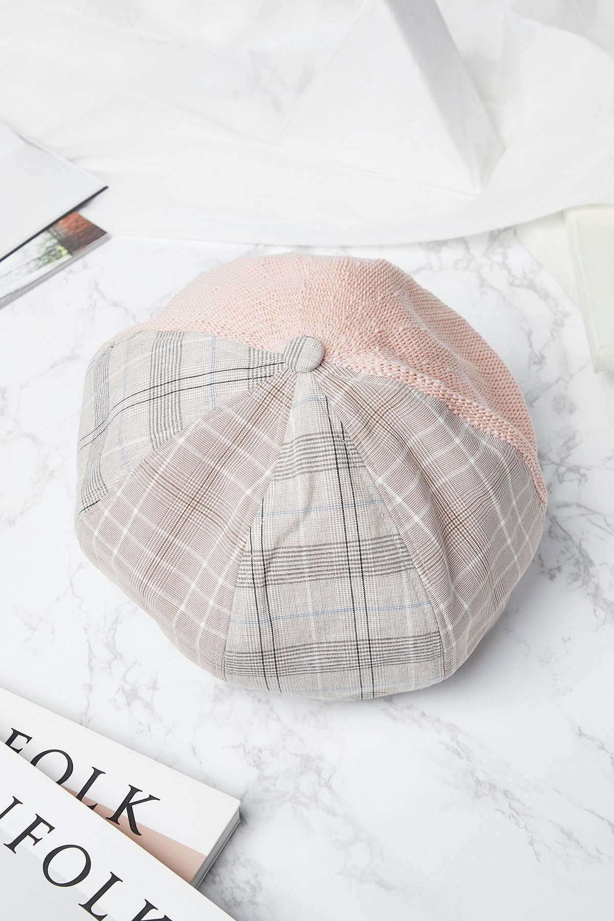 Half And Half Plaid Beret