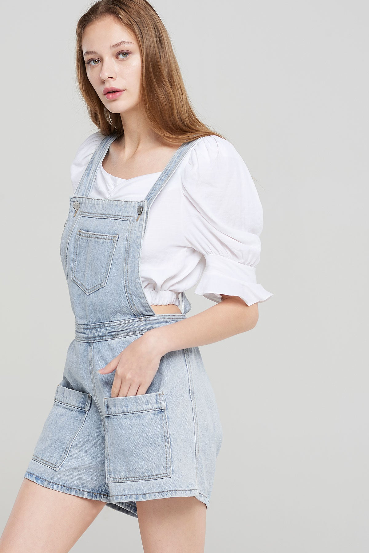 Courtney Light Denim Overalls-Skyblue