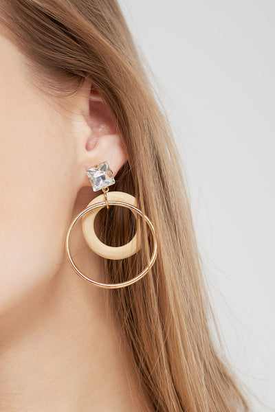 Cubic Wooden Circle Earrings-Gold