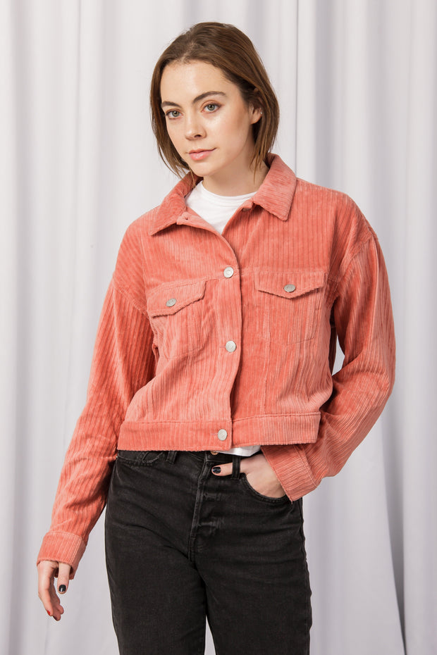 [DOUBLE ICON] BELIEVER CORDUROY JACKET - INDIE PINK