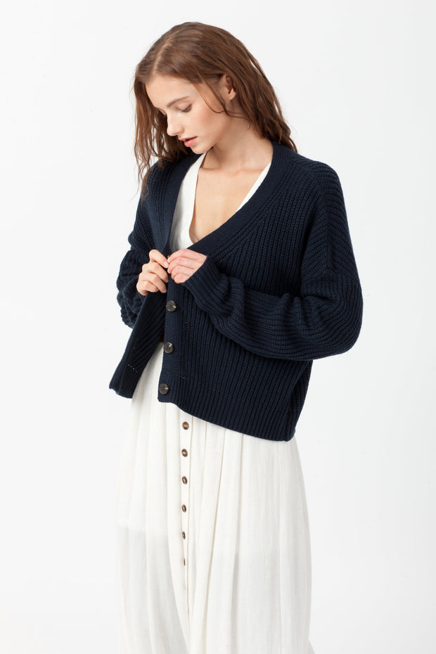 [DOUBLE ICON] BETTER DAYS KNIT CARDIGAN - DARK NAVY