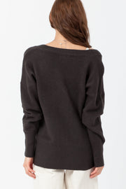 [DOUBLE ICON] HADEN WRAP SWEATER - CHARCOAL