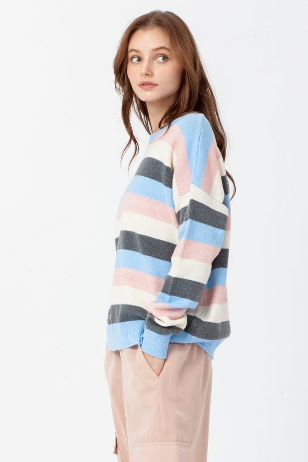 [DOUBLE ICON] PERFECT HARMONY STRIPED SWEATER - BLUE