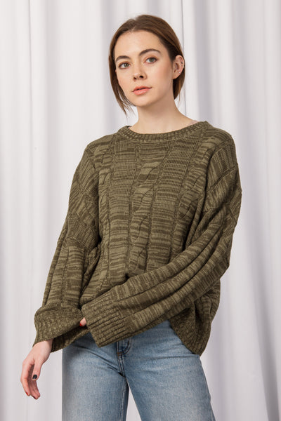 [DOUBLE ICON] FEELINGS CABLE KNIT SWEATER - OLIVE