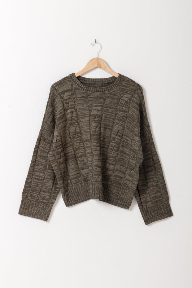 DOUBLE ICON - FEELINGS CABLE KNIT SWEATER - OLIVE - Shop Double Icon