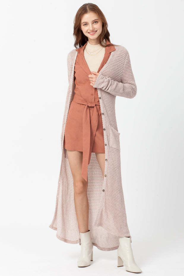 DOUBLE ICON - CAUGHT IN THE MIDDLE LONG CARDIGAN - DUSTY PINK - Shop Double Icon