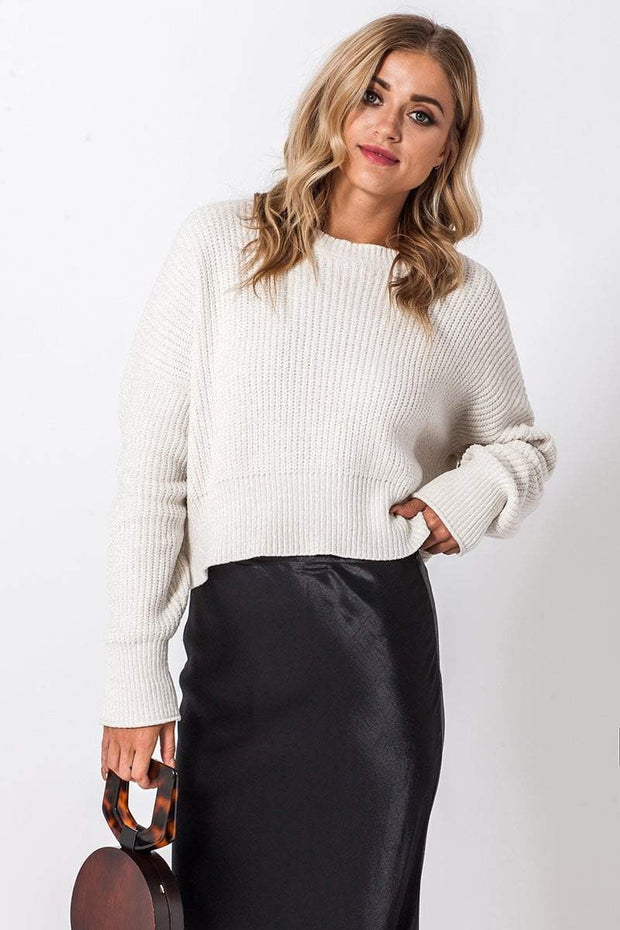 DOUBLE ICON - CARLY CHENILLE SWEATER - CREAM - Shop Double Icon