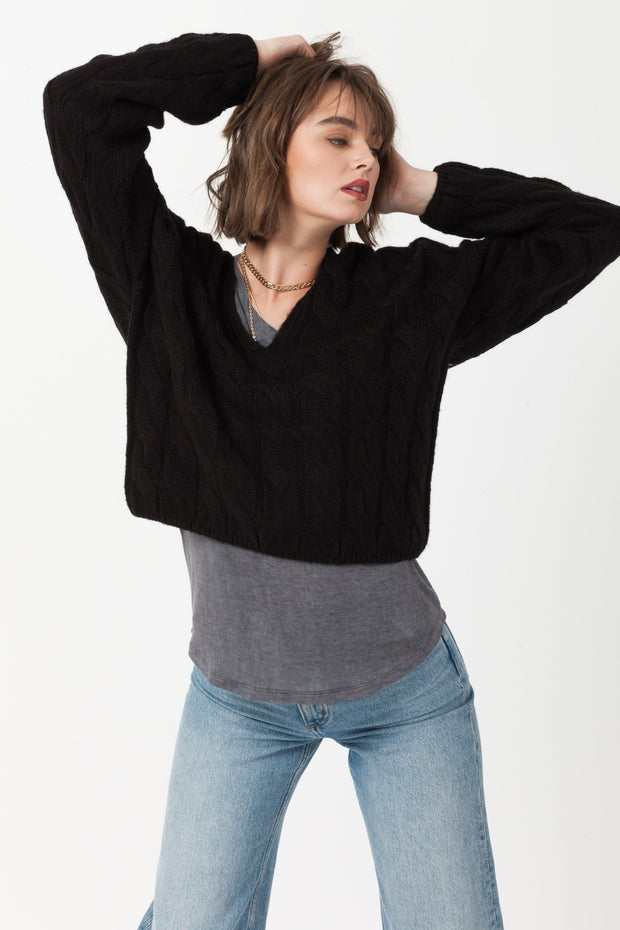 [DOUBLE ICON] CAREFREE PULLOVER KNIT SWEATER - BLACK