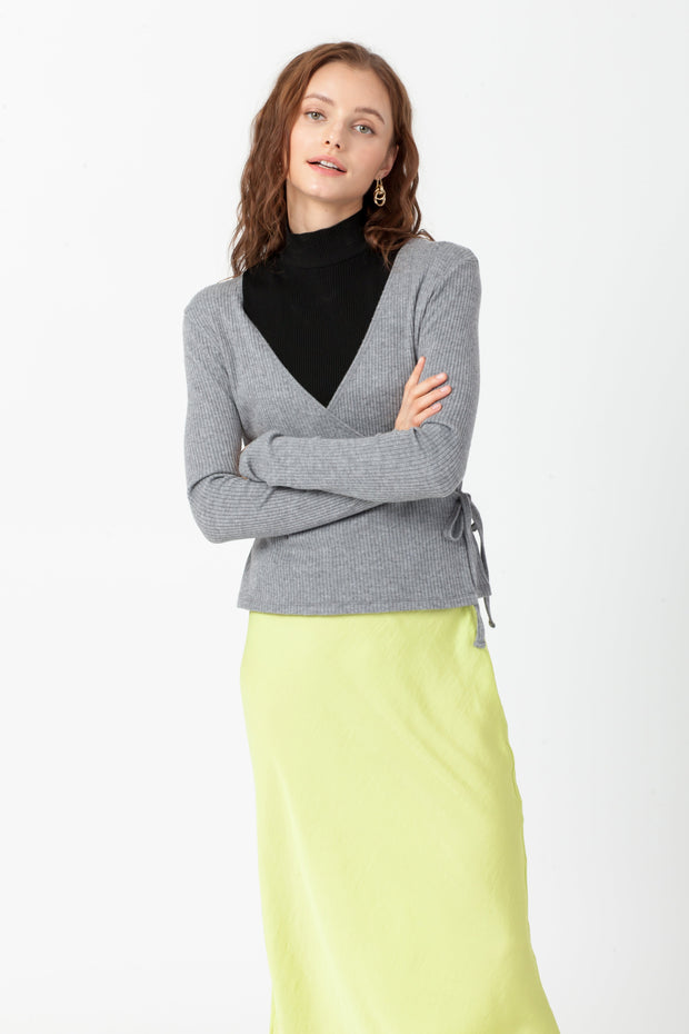 [DOUBLE ICON] EMERY WRAP FRONT TOP - MEDIUM GRAY