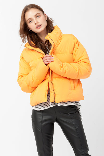 DOUBLE ICON - WEEKENDER PUFFER JACKET - ORANGE - Shop Double Icon