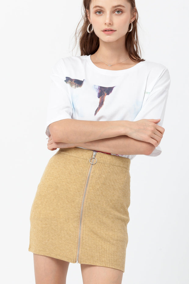 DOUBLE ICON - RATHER BE MINI SKIRT - MUSTARD - Shop Double Icon