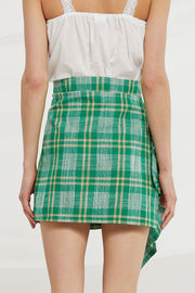 Danna Asymmetric Ruched Skirt in Check