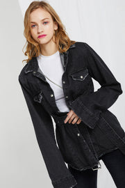 Deva Frayed Denim Jacket w/ Belt