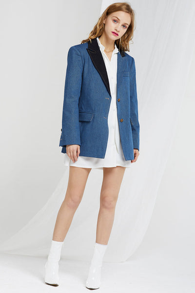 Devon Contrast Lapel Denim Blazer