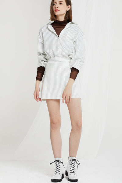 Eleanor Pinstripe Shirt and Skirt Set