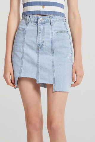 Elizabeth Step-cut Denim Skirt-Skyblue