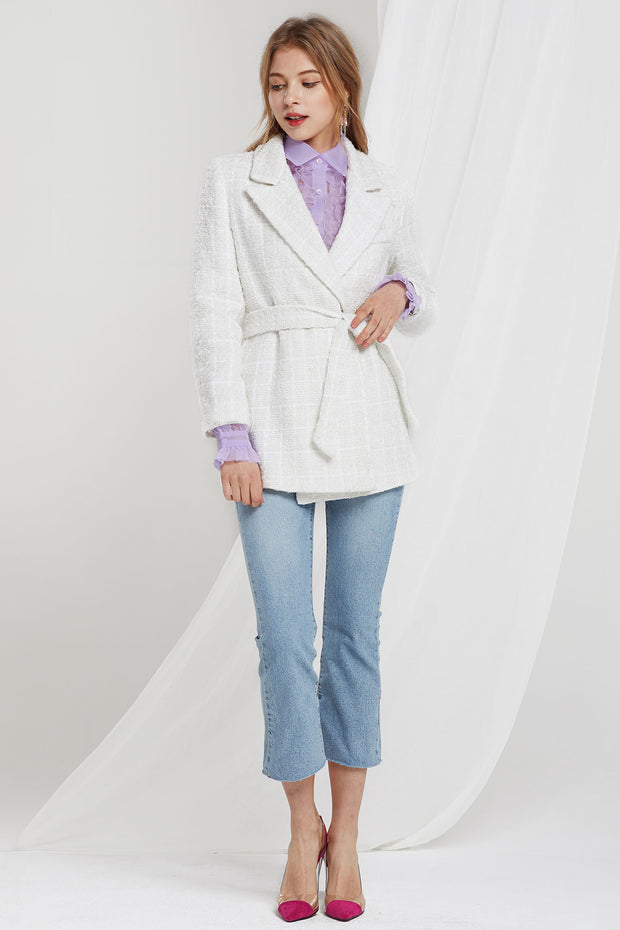 Esther Textured Jacket w/ Sash Belt