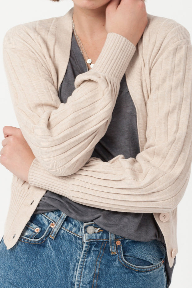 [DOUBLE ICON] SANDY SHORES KNIT CARDIGAN - TAUPE