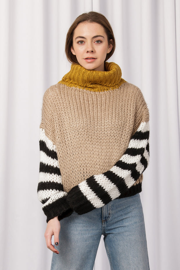 [DOUBLE ICON] HAPPY BLOCKS KNIT SWEATER