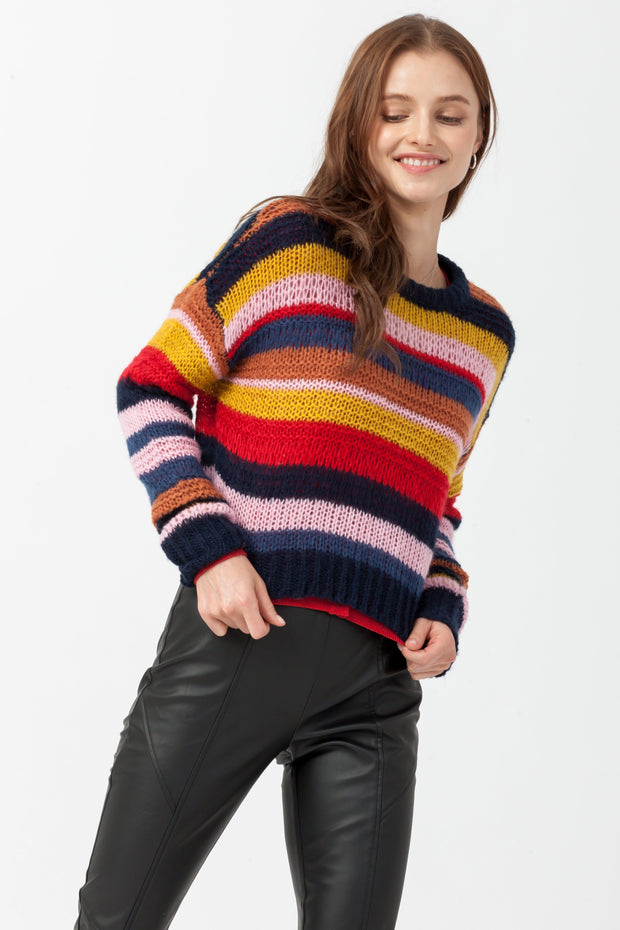DOUBLE ICON - FEELS STRIPED PULLOVER KNIT SWEATER - NAVY - Shop Double Icon