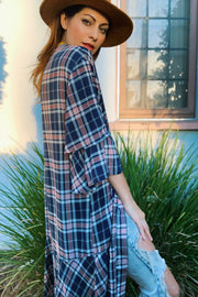[DOUBLE ICON] NIRVANA PLAID KIMONO TOP - Shop Double Icon