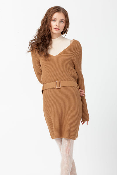 [DOUBLE ICON] MADELINE SWEATER DRESS - ALMOND