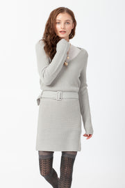 [DOUBLE ICON] MADELINE SWEATER DRESS - LIGHT GRAY