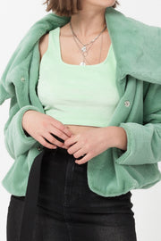 [DOUBLE ICON] HAPPY HOUR FAUX FUR JACKET - JADE