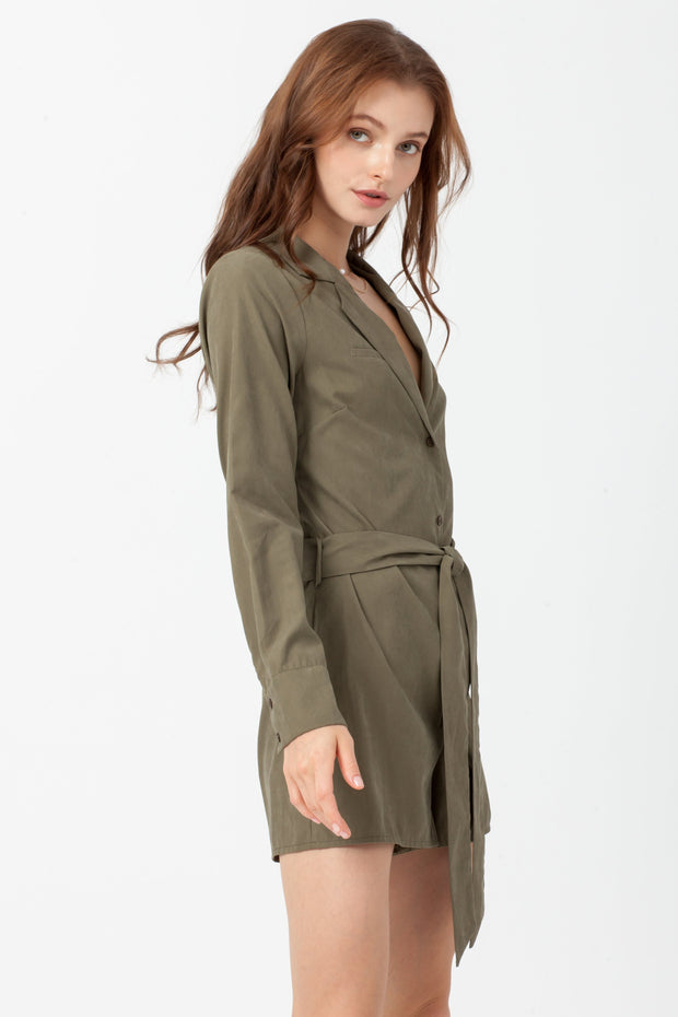 [DOUBLE ICON] OUT AND ABOUT ROMPER - OLIVE
