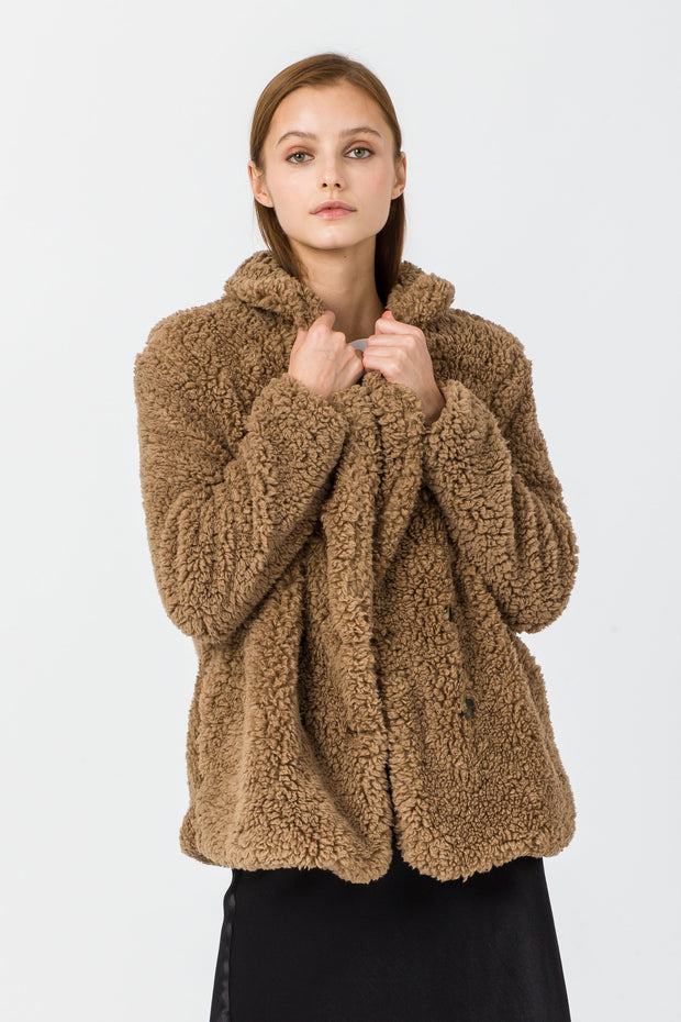 [DOUBLE ICON] COZY DAYS SHERPA JACKET - BROWN