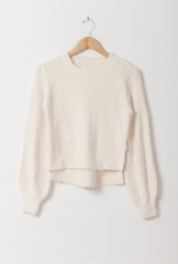 DOUBLE ICON - MIRACLES HAPPEN FUZZY SWEATER - CREAM - Shop Double Icon