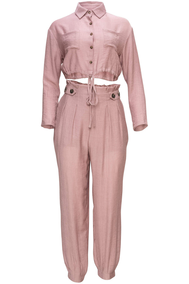 [DOUBLE ICON] NO LOOKING BACK TWO PIECE SET - MAUVE - Shop Double Icon