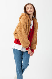 [DOUBLE ICON] SOFT SNUGGLES HOODED SHERPA JACKET - CAMEL