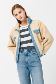 DOUBLE ICON - ECHO PARK SHERPA JACKET - BEIGE - Shop Double Icon