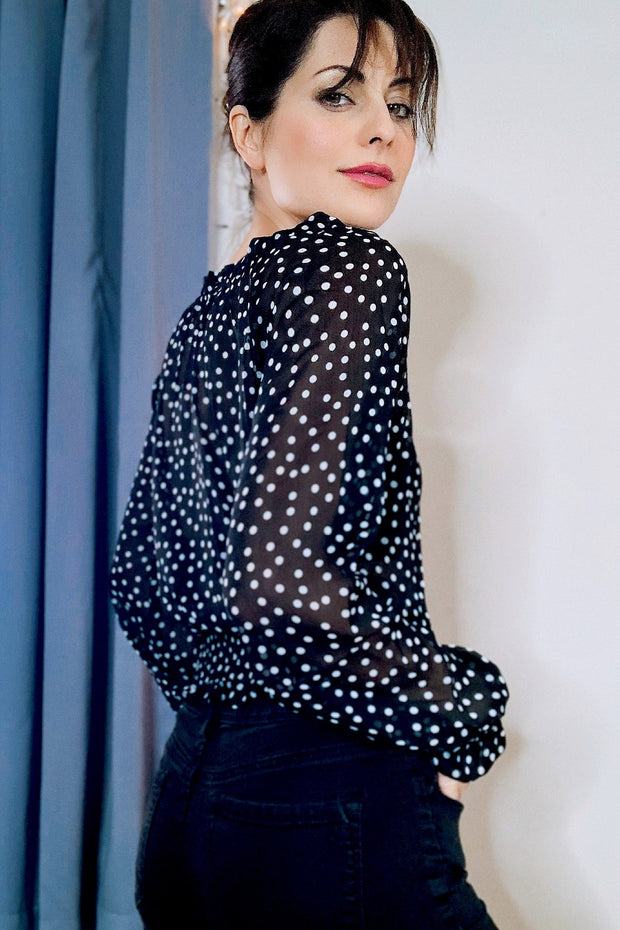 [DOUBLE ICON] ON THE DOT POLKA DOT BLOUSE - Shop Double Icon