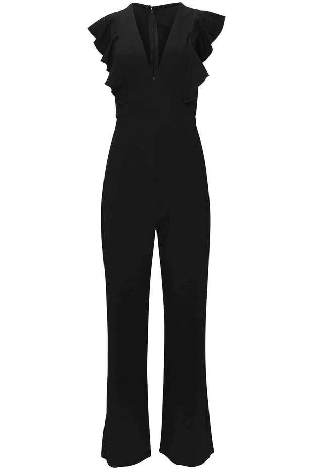 CYNTHIA LEU - CANT BE RUFFLED MAXI JUMPSUIT - BLACK - Shop Double Icon