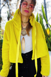 [DOUBLE ICON] JUST YOU FAUX FUR HOODED JACKET - YELLOW - Shop Double Icon