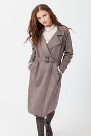 [DOUBLE ICON] MADDIE SCUBA SUEDE LONG COAT - MUSHROOM