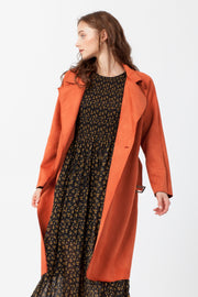 [DOUBLE ICON] MADDIE SCUBA SUEDE LONG COAT - RUST