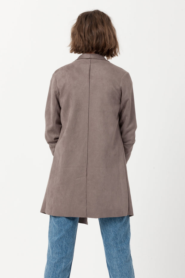 [DOUBLE ICON] GAME ON SCUBA SUEDE BLAZER COAT- MUSHROOM