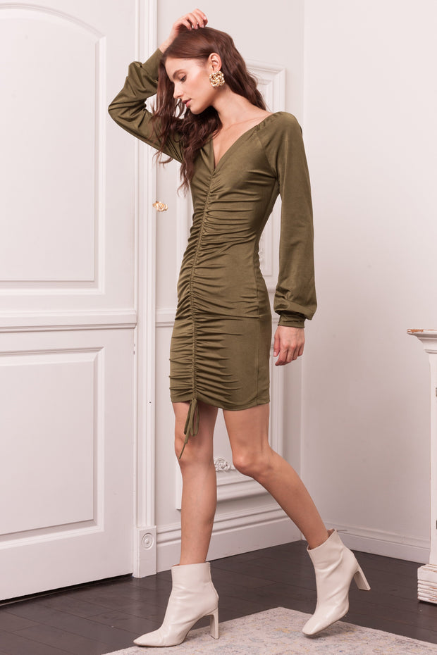 [DOUBLE ICON] NIGHTLIFE SLINKY MINI DRESS - OLIVE