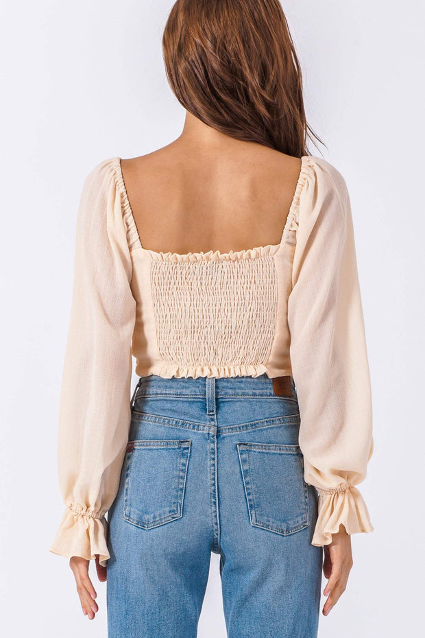 DOUBLE ICON - ARIEL RUCHED CROP TOP -  IVORY - Shop Double Icon
