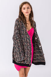 DOUBLE ICON - GABRIELLE MULTI YARN CARDIGAN - BLACK - Shop Double Icon