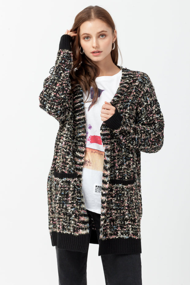 [DOUBLE ICON] FESTIVE MULTICOLOR KNIT CARDIGAN - BLACK