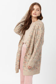 [DOUBLE ICON] FESTIVE MULTICOLOR KNIT CARDIGAN - TAUPE