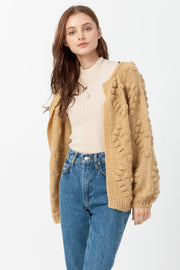 DOUBLE ICON - LOVE IN THE AIR POPCORN CARDIGAN - MUSTARD - Shop Double Icon