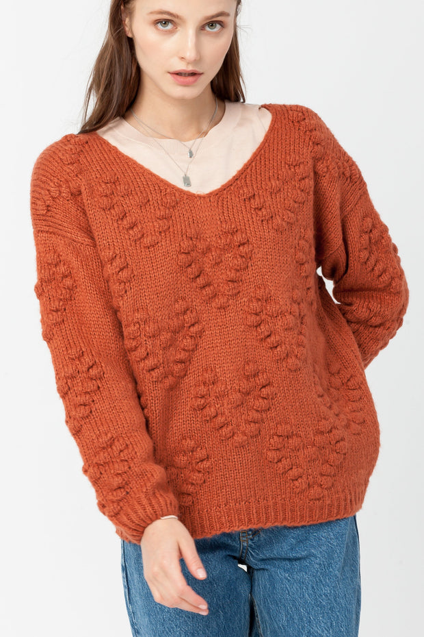 DOUBLE ICON - GWEN PULLOVER KNIT SWEATER - RUST - Shop Double Icon