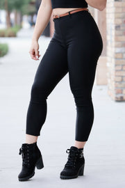 [DOUBLE ICON] SO STRETCHY HIGH WAISTED PANTS - BLACK